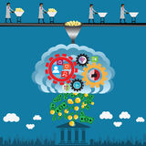 Financial concept,make money from human ideas - vector. Illustrator Stock Photo