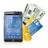 Financial Concept - Make Money on the Internet. Financial Concept  Make Money on the Internet with Mobile Smart Phone (Stock Market Application), Dollar Bills Stock Images