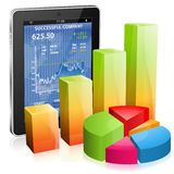 Financial Concept - Make Money on the Internet. Financial Concept Make Money on the Internet with Tablet PC (Stock Market Application) and Graph, icon  on white Stock Photo