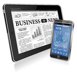 Financial Concept - Make Money on the Internet. Financial Concept with Business Newspaper on screen Tablet PC and Smartphone with Stock Market Application Stock Photo