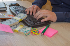 Financial concept. Make money on the Internet. Businessman works at office Stock Image