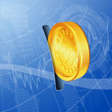 Financial Concept. Make Money on the Internet with Gold Coins, vector background Stock Images
