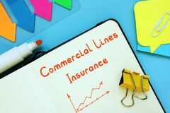 Financial concept meaning Commercial Lines Insurance with sign on the piece of paper