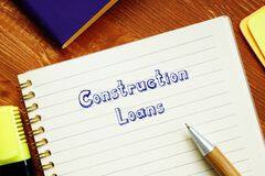 Financial concept meaning Construction Loans with inscription on the page