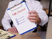Financial concept meaning Food and Beverage F&B Checklist with phrase on the page
