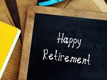 Financial concept meaning Happy Retirement with phrase on the piece of paper