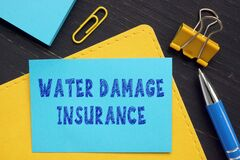 Financial concept meaning WATER DAMAGE INSURANCE with sign on the financial document