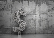 Financial concept. Mechanism of gears in form of dollar sign on a concrete background. 3d illustration Stock Image
