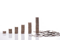 The financial concept Money coin graph schedule collapse in the Stock Photos