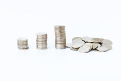 The financial concept Money coin graph schedule collapse in the fail growth. Stock Image