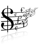 Financial concept - money music. Black and white Stock Image