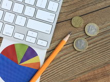 Financial concept with pie chart and money Stock Photos