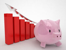 Financial concept piggy bank and red graphics Stock Images