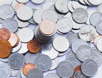 Financial concept: a pile of coins made of gold and silver stock images