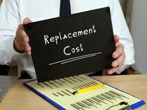 Financial concept about Replacement Cost with sign on the sheet