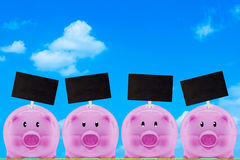 Financial Concept, Saving Money. Financial, saving money concept, pink piggy bank on blue sky background with copy space royalty free stock photography