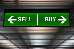Financial concept. Sell and Buy Arrows sign, indicated stock market Stock Photography