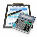 Financial concept. Stock chart, calculator and pen. Stock Photography