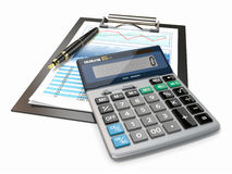 Financial concept. Stock chart, calculator and pen. Stock Photo