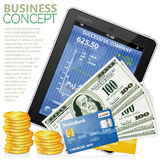Financial Concept with Tablet PC, Dollars, Coins. Financial Concept with Tablet PC (Stock Market Application), Dollar Bills, Credit Cards and Coins, vector Royalty Free Stock Photo