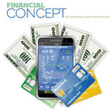 Financial Concept with Touchphone and Dollar Royalty Free Stock Image