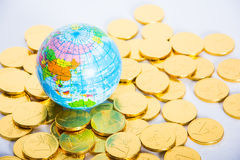 Financial concept. World and money isolated on white background Royalty Free Stock Photography