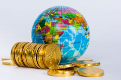 Financial concept. World and money isolated on white background Royalty Free Stock Photo