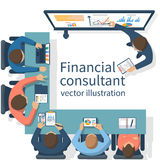 Financial consultant concept. Consultant near blackboard holds training. Businessman at meeting to brainstorm. Accounting organization process, analytics Royalty Free Stock Photography