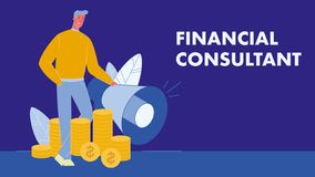 Financial Consultant Flat Vector Banner with Text royalty free illustration