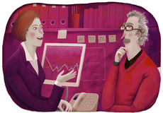 Financial consultant. An illustration of a male client and a female consultant sitting in the office discussing a  plan Stock Image