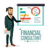 Financial Consultant Vector. Businessman With Blackboard. Professional Support. Research Graphs Market. Business. Management. Diagrams, Charts Financial Reports Royalty Free Stock Images