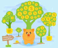 Financial consultations on creation of cash flows for accumulation of wealth. Piggybank on a background of money trees. Financial consultations on the creation Royalty Free Stock Images