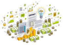 Financial contract concept, paper legal document and cash money. Stacks isolated on white background. Vector 3d isometric business illustration with icons royalty free illustration