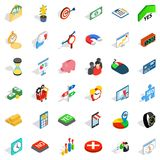 Financial contribution icons set, isometric style. Financial contribution icons set. Isometric set of 36 financial contribution vector icons for web isolated on Stock Images