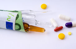Financial costs of medicines Royalty Free Stock Images