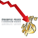 Financial crash. With red diagram arrow smashing dollar sign and title  illustration Royalty Free Stock Photos