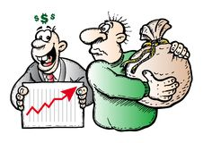Financial crash. Illustration showing the financial crash as a katasrophe Stock Photography