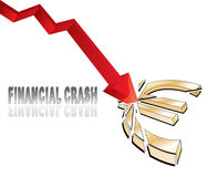 Financial crash. With red diagram arrow smashing euro sign illustration Stock Photography