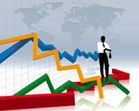 Financial crash. Business man and financial crash vector illustration
