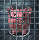 Financial Crime. And securities fraud business concept with a piggy bank character in a prison jail cell with a dollar sign symbol in the metal cage bars as an Royalty Free Stock Photos