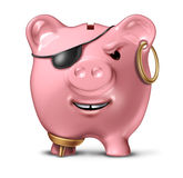 Financial Criminal. And bank fraud concept with a pink ceramic piggy bank disguised as a pirate as a legal and illegal symbol of finance and savings crime on a Royalty Free Stock Image