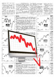 Financial crisis. With fake financial news background Royalty Free Stock Photography