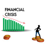 Financial crisis. Abstract colorful illustration with descending graph symbolizing the financial crisis Royalty Free Stock Photography