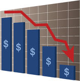Financial crisis. Illustration with bars and red arrow Stock Photo