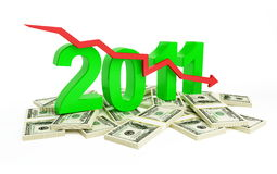 Financial crisis 2011. Fall in business profits in new year 2011 royalty free illustration