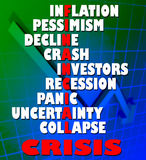 Financial Crisis. Illustration with words concerning the economic situation in the world Stock Photo