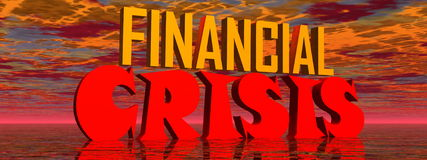 Financial crisis. Red and orange capital letters for financial crisis in stormy background Stock Photography