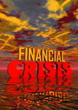Financial crisis. Red and orange capital letters for financial crisis in stormy background Stock Photo