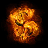 Financial crisis. Burning gold dollar Stock Image