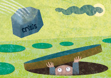 Financial crisis. A man hides in a hole in the ground from a stone falling down fom the sky. The word 'crisis' is written on the stone Stock Photography